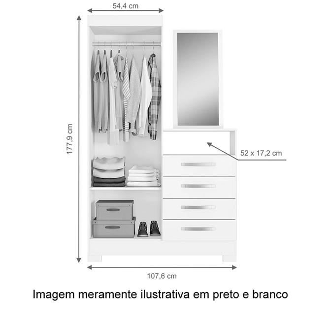 Cômoda 4 Gavetas 2 Porta e Espelho Notável - Café - CasaTema